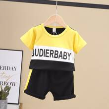 Toddler Boys Color-block Letter Graphic Tee & Shorts
