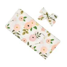 Newborn Unisex Floral Print Sleepbag & Headband Photo Outfit