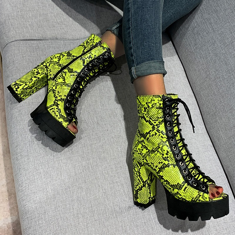 Ericdress Peep Toe Color Block Chunky Heel Casual Boots