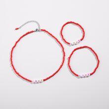 1pc Girls Beaded Necklace & 1pc Bracelet & 1pc Anklet