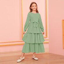 Maedchen Kleid mit Selbstguertel und Punkten