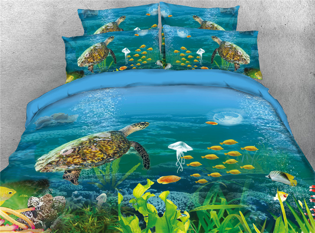 Turtle Underwater Tropical Fish Four-Piece Set Polyester Skin-friendly Twin Full Queen King with Ties zipper