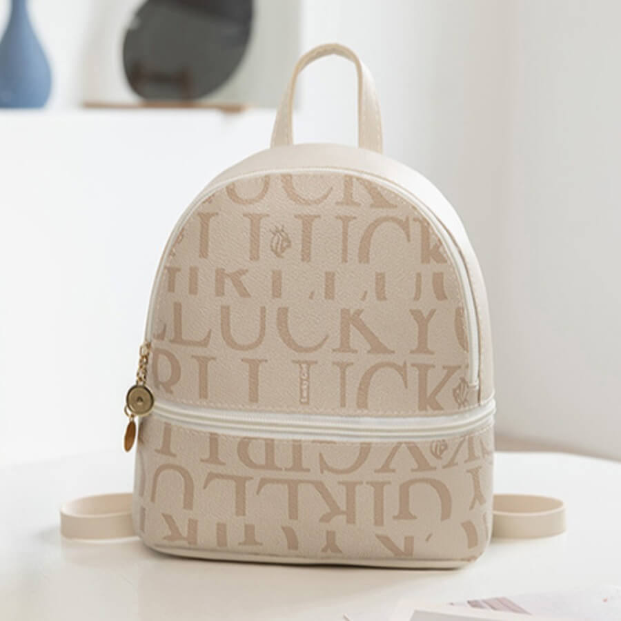 LW Lovely Casual Letter Print Apricot Backpack