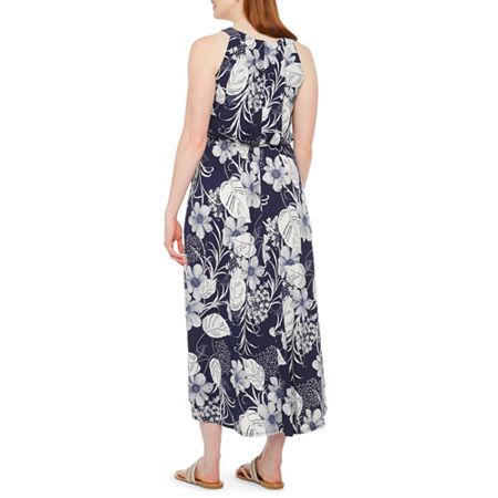 Robbie Bee-Petite Sleeveless Floral Maxi Dress, Petite Small , Blue