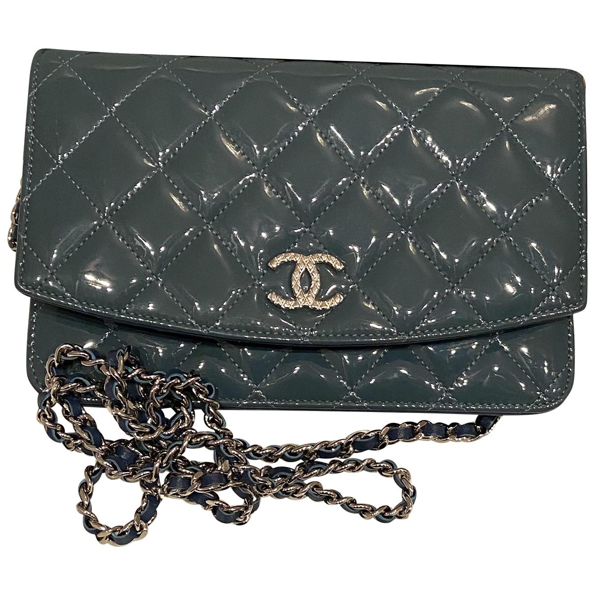Chanel Wallet on Chain Handtasche in  Blau Lackleder