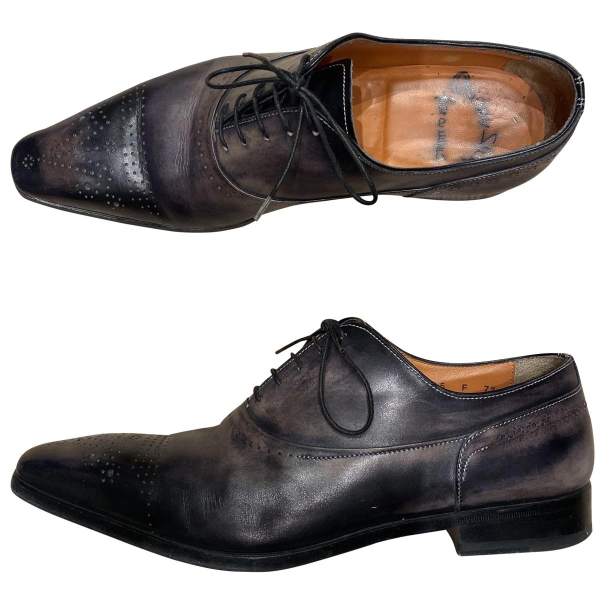 Santoni - Derbies   pour homme en cuir - gris