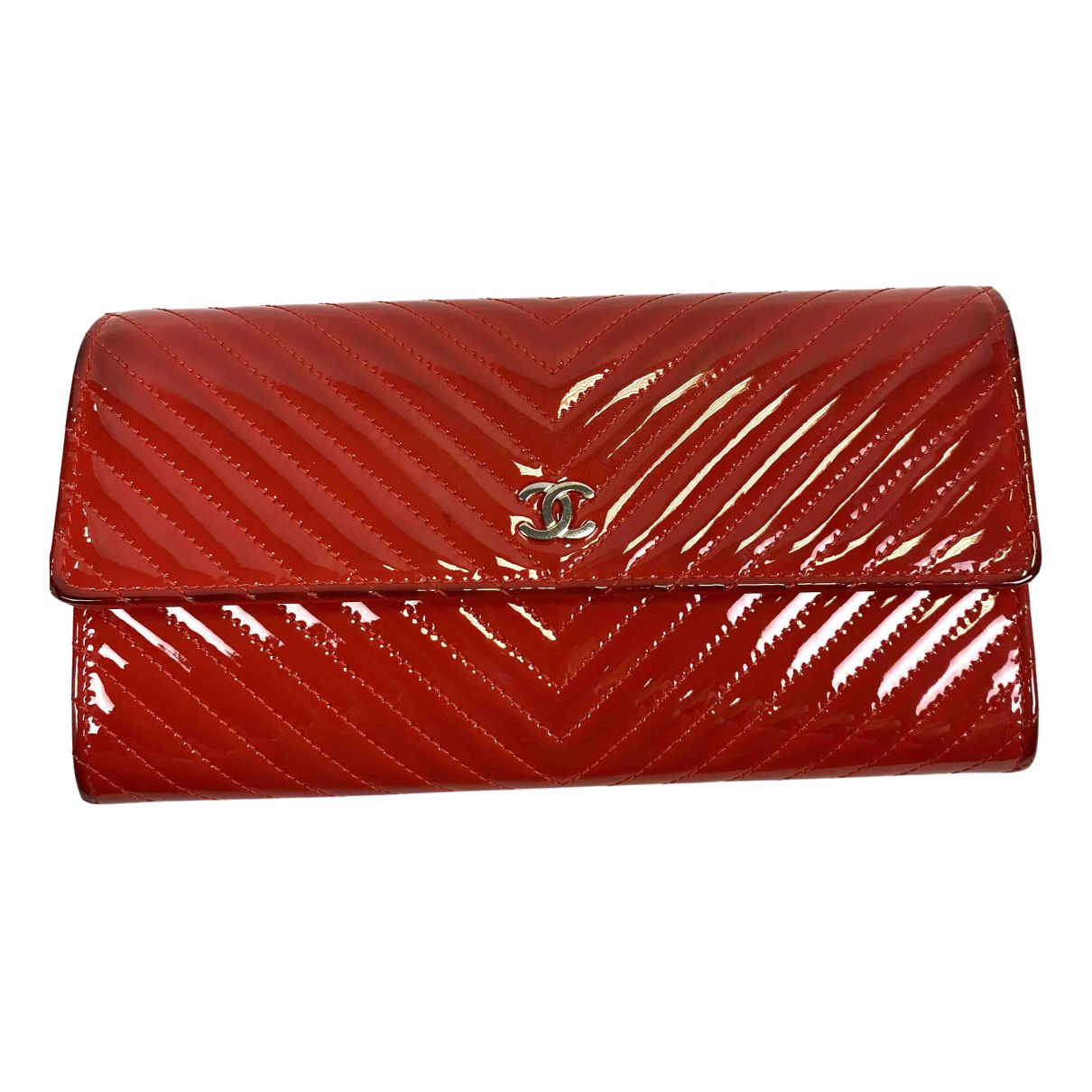 Chanel N Red Patent leather wallet for Women N