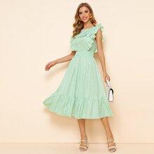 Kleid mit Raffung und Punkten