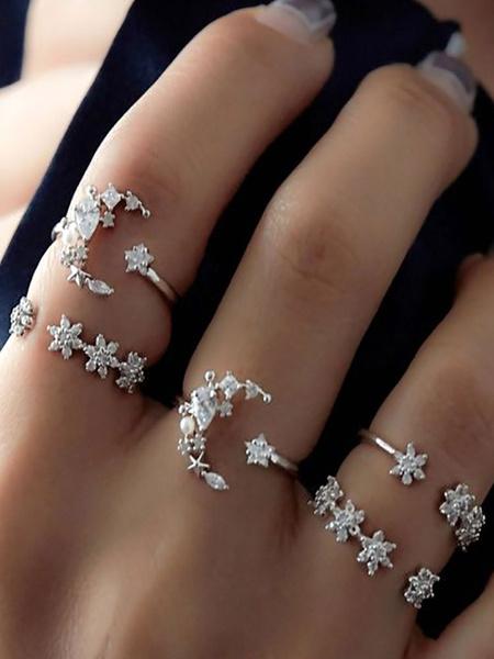 Milanoo Boho Rings Set Silver Stacking Rings In 5 Piece