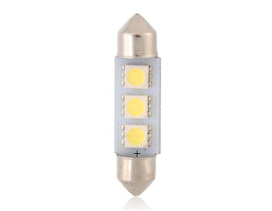 T10 5050 3-LED 39mm White/Blue Festoon Car Light - White