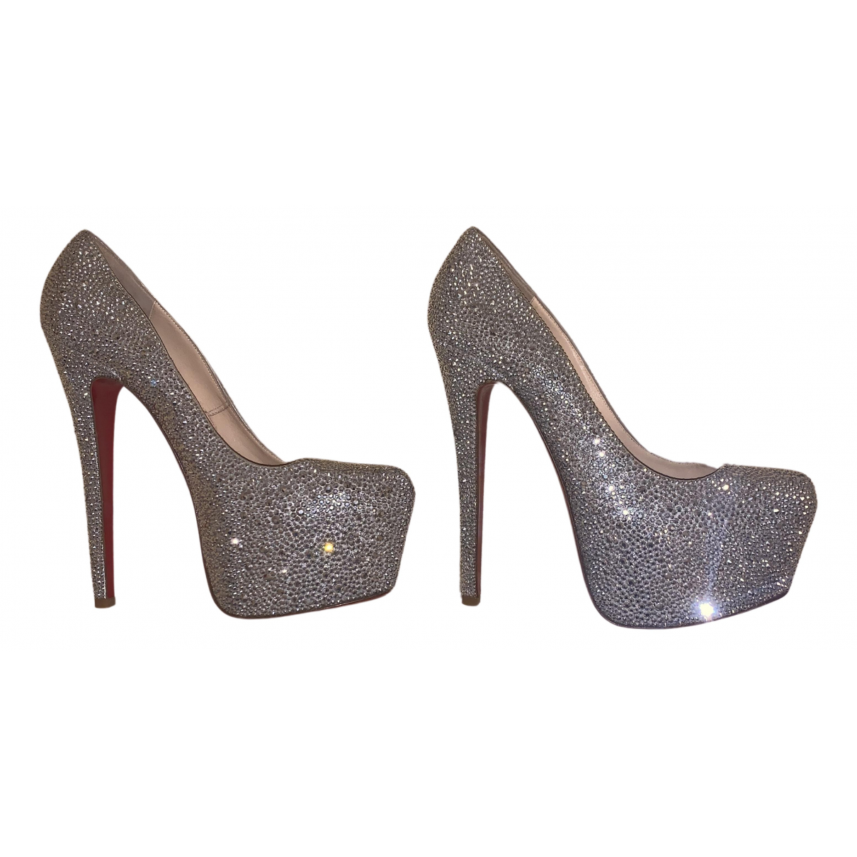 Christian Louboutin Daffodile  Silver Leather Heels for Women 38 EU