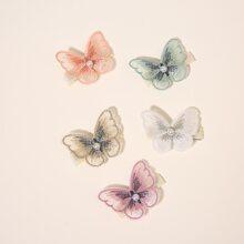 5 piezas horquilla de niñas con mariposa