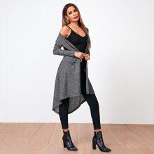 Mantel mit einreihiger Knopfleiste, Taschen Flicken und Stufensaum