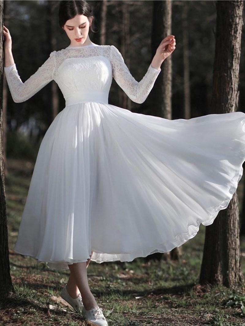 Ericdress Long Sleeves Tea-Length Beach Wedding Dress