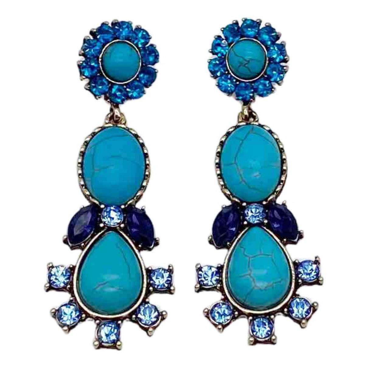 - Boucles doreilles Turquoises pour femme en metal - dore