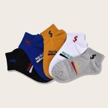 5 Paare Maenner Socken mit Buchstaben Grafik