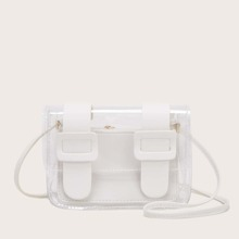 Bolsa bandolera transparente con bolsillo interior