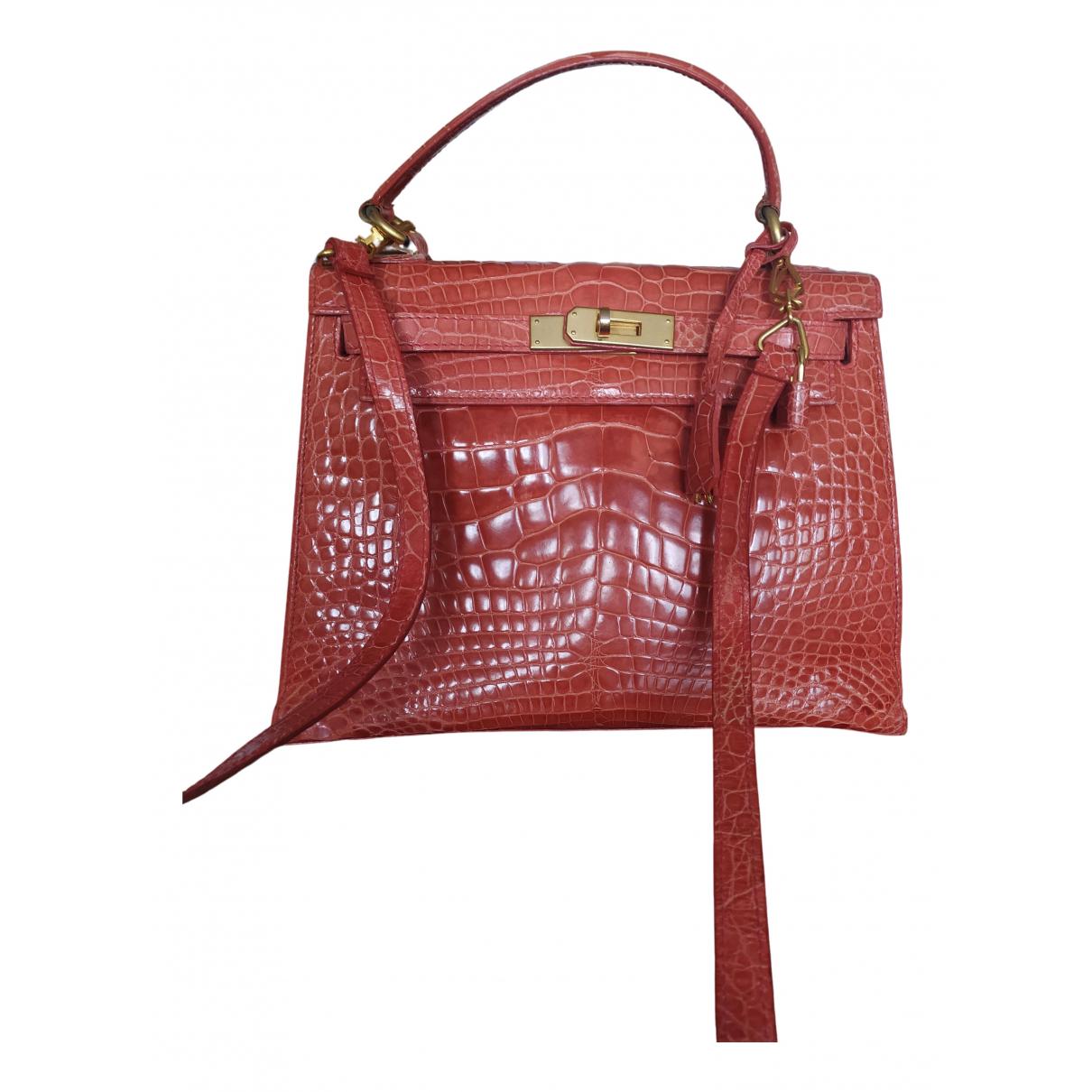 Non Signe / Unsigned \N Handtasche in  Rosa Krokodil