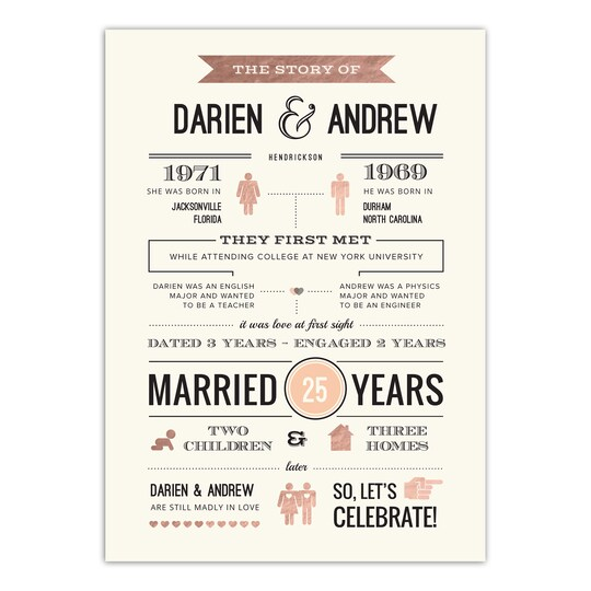 Gartner Studios® Personalized Love Story Flat Wedding Anniversary Party Invitation in Gold | Michaels®