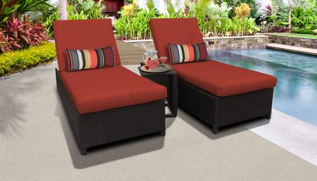 Barbados Collection BARBADOS-W-2x-ST-TERRACOTTA Patio Set with 2 Chaise with Wheels  1 Side Table - Wheat and Terracotta