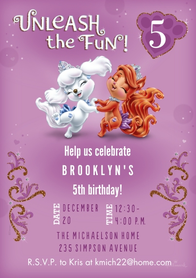 Kids Birthday Party Invites Flat Matte Photo Paper Cards with Envelopes, 5x7, Card & Stationery -Unleash the Fun - Princess Palace Pets