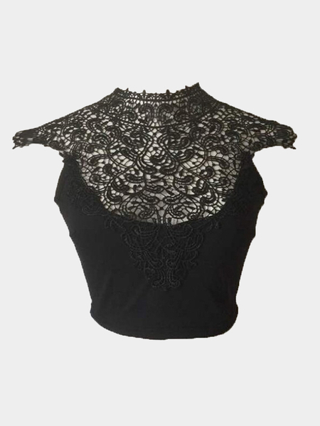 Yoins Black High Neck Crochet Lace Insert Crop Top with Self-tie Back