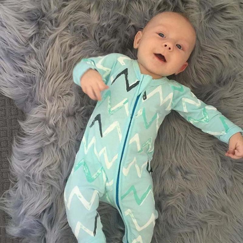 Blue Long Sleeve Cotton Material Zipper Infant Jumpsuit/ Baby Bodysuit