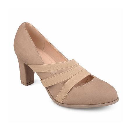 Journee Collection Womens Loren Pumps Stacked Heel, 8 Medium, Beige