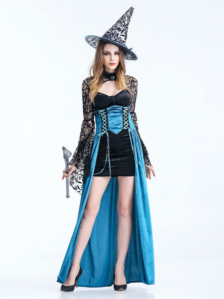 Milanoo Black Halloween Costume Lace Up Hat Dress Polyester Women Witch Set Mardi Gras Holidays Costumes