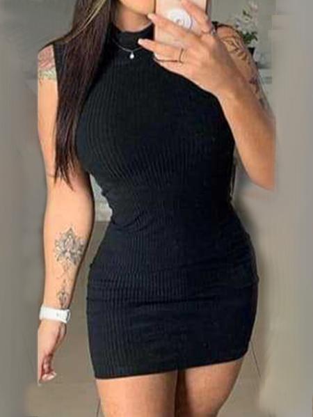 Yoins Crew neck Cable Knit Sleeveless Mini Dress