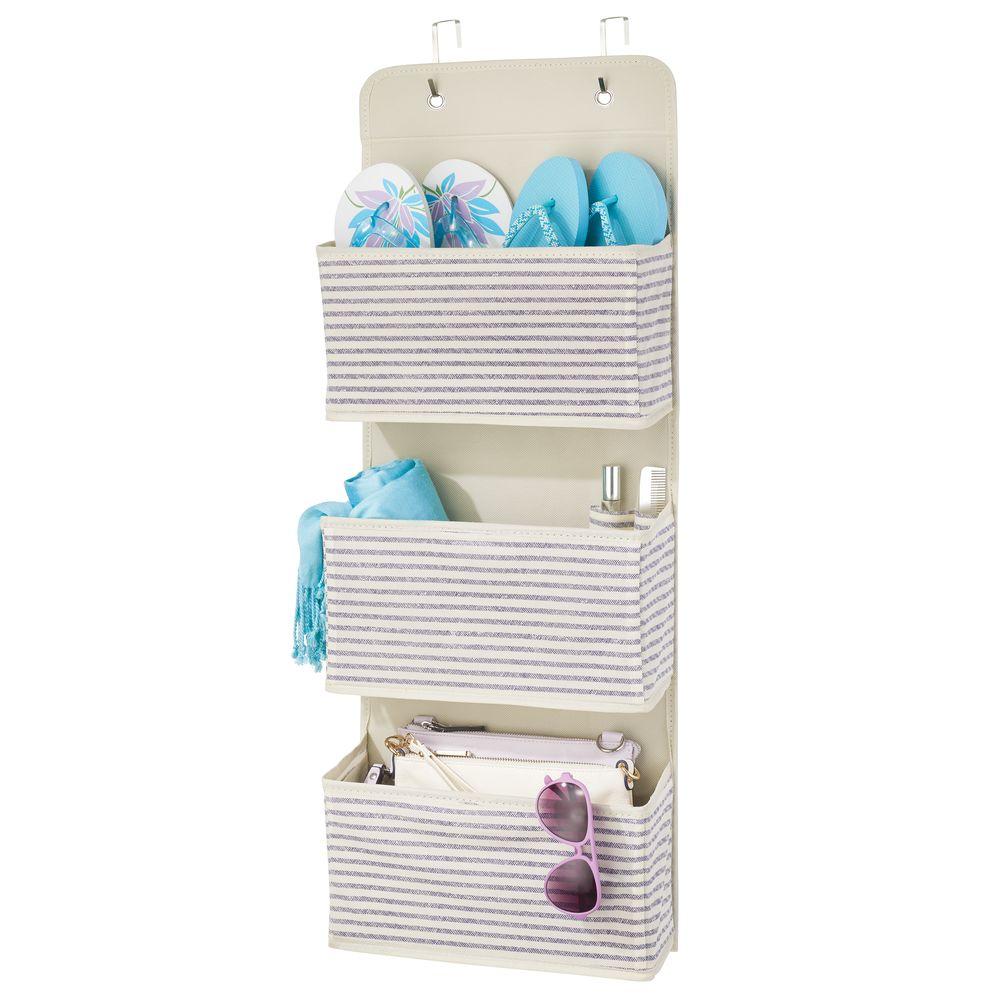 3 Pocket Over Door Fabric Hanging Closet Organizer in Natural/Cobalt Blue, 4.5 x 13 x 36, by mDesign