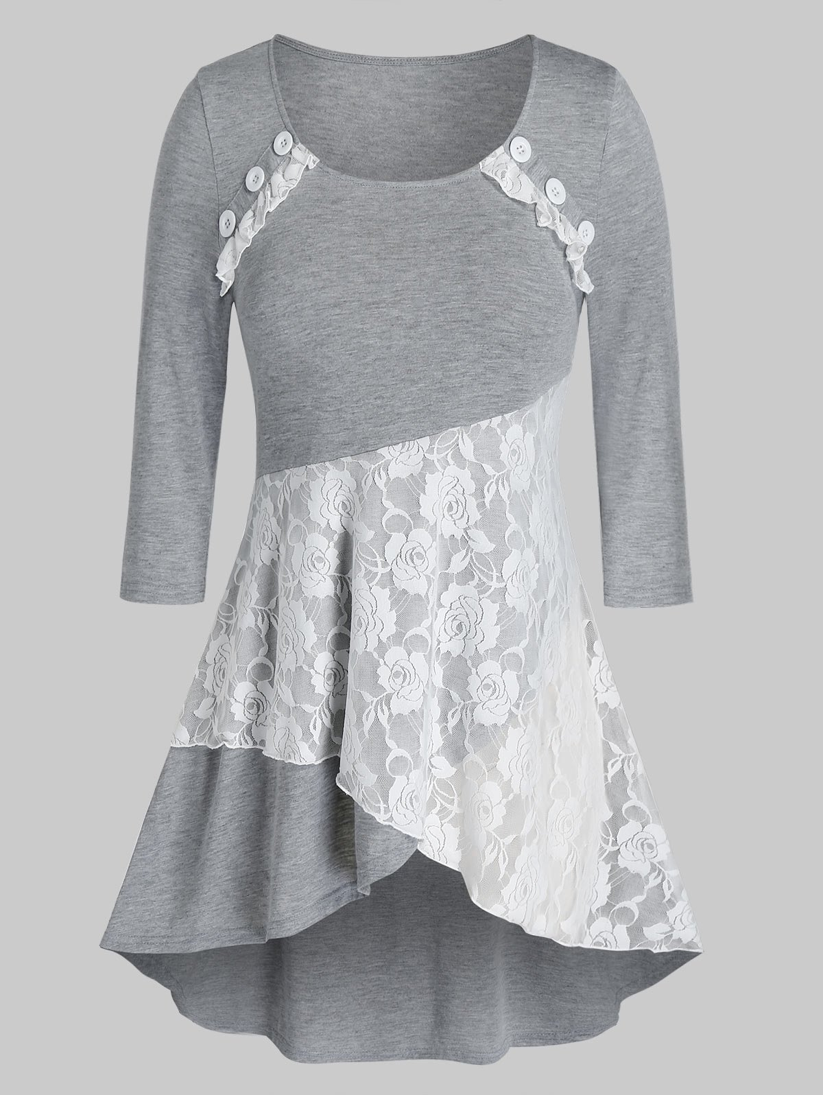 Plus Size Lace Button High Low Layered Top