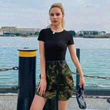 Camo Print Pocket Side Belted Skirt