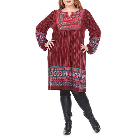 White Mark-Plus Atarah Embroidered Long Sleeve Sweater Dress, 3x , Red