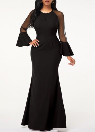 Black Dresses Mesh Panel Flare Sleeve Mermaid Dress - L