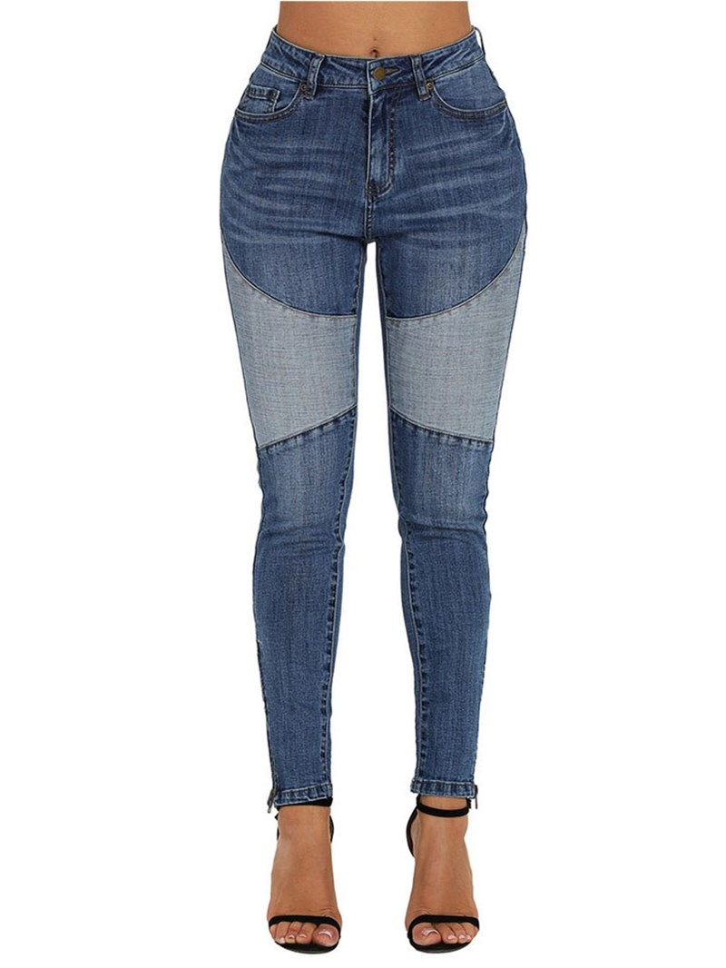 Ericdress Color Block Patchwork Slim Women's Jeans