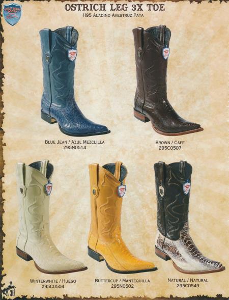 XXXToe Genuine Ostrich Leg Mens Cowboy Western Boots Diff.Color/Size