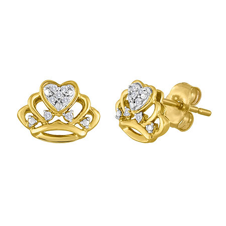 Diamond-Accent 10K Yellow Gold Crown Earrings, One Size , No Color Family