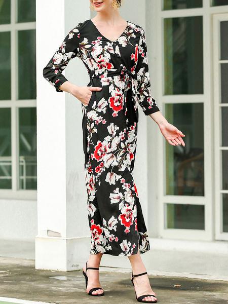 Milanoo Vestidos largos negros Vestido largo con abertura con botones estampados y mangas largas con cuello en V para mujer