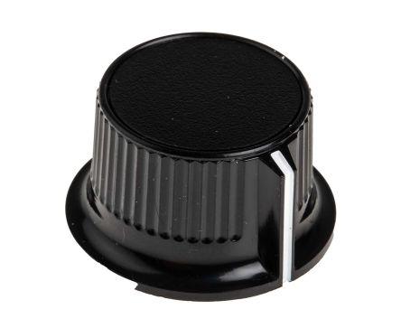 RS PRO Potentiometer Knob, Grub Screw Type, 28mm Knob Diameter, Black, 6mm Shaft (5)