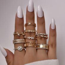 10 piezas anillo con diamante de imitacion