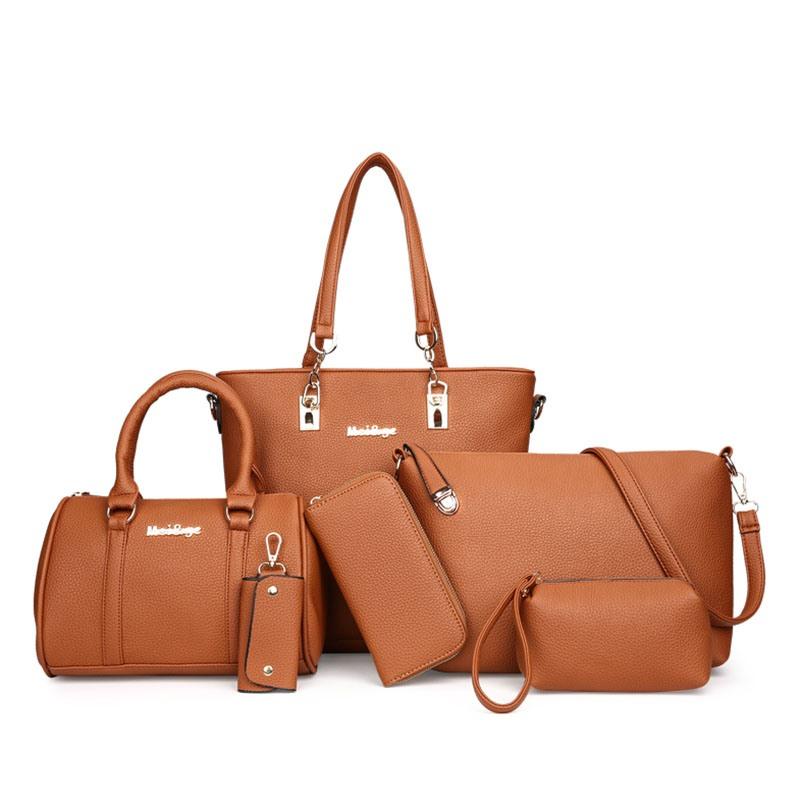 Ericdress Trendy Well-Match Solid Color Handbag (6 Bags Set)