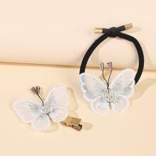 2pcs Mesh Butterfly Hair Clip & Hair Tie