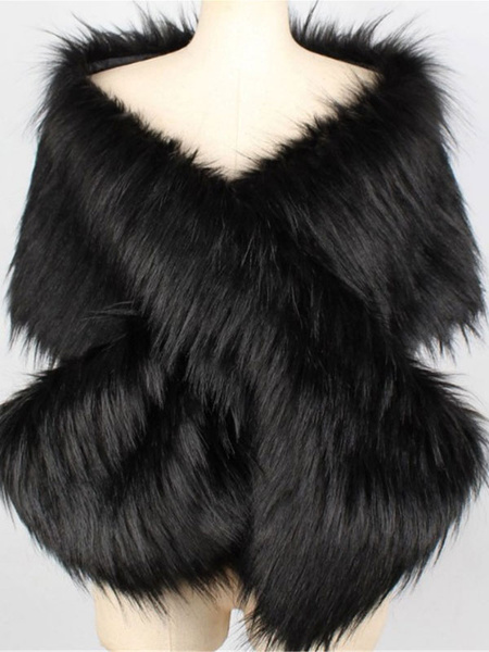 Milanoo Wedding Cape Faux Fur Shawl Wrap Winter Stole