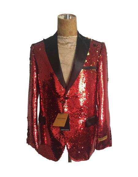 Mens One Button Single Breasted Red Suit