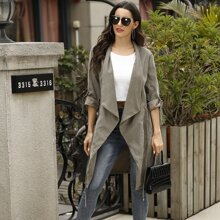 Solid Drawstring Waist Roll-up Sleeve Trench Coat