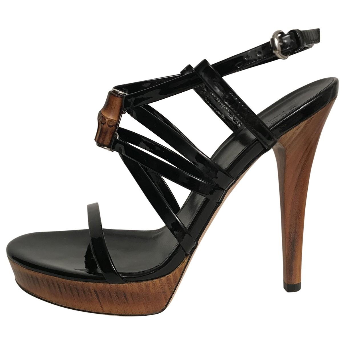 Gucci - Sandales   pour femme en cuir verni - noir