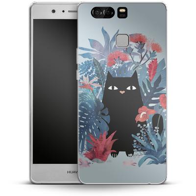 Huawei P9 Silikon Handyhuelle - Popoki Blue von Little Clyde