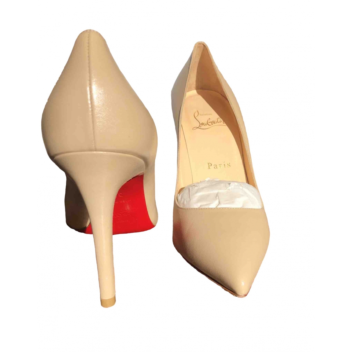 Christian Louboutin Pigalle Beige Leather Heels for Women 35.5 EU
