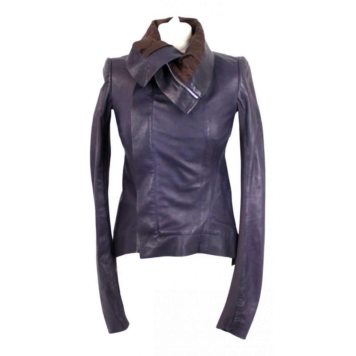 Rick Owens N Purple Leather Leather jacket for Women 40 IT